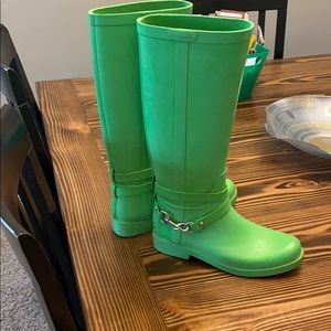 Green coach rain boots